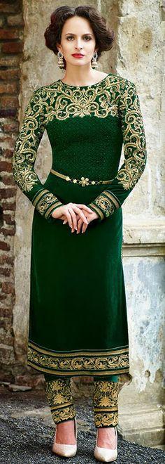 USD 137.67 Green Embroidered Velvet Salwar Kameez 28420
