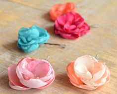 """Handmade chiffon roses available in every color  """"After women, flowers are the most lovely thing God has given the world."""" Christian Dior   Hand made blossom hair pins, spring time palette."""
