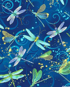 Dance of the Dragonfly - Moonlit Flight - Lagoon Blue/Gold. Fabric from eQuilter.com