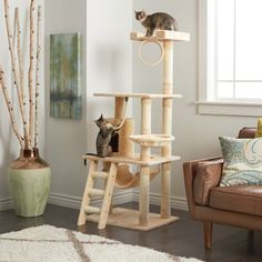 Go Pet Club 62-inch Cat Tree - 14281275 - Overstock - The Best Prices on Go Pet Club Cat Furniture - Mobile