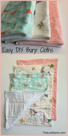 These burp cloths are quick and easy to make. They are great for your baby, to give to a new mom, or as a simple baby shower gift. They are made with a cloth diaper on one side and fun fabrics on the other side. Make a set in a variety of fabrics. The Lost Apron by phoebe