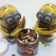 Minions, bananas  and Nutella.  what a great combo