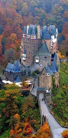 Burg Eltz Castle overlooking the Moselle River between Koblenz and Trier, Germany • | See more