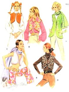 1960s Vests and Scarf With Monogram Transfer Pattern Four Mod Sixties Vest Styles McCalls 9809 Vintage Sewing Pattern Bust 34 UNCUT FACTORY FOLDED