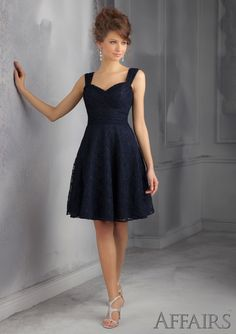 Short Bridesmaids Dress From Affairs By Mori Lee Dress Style 31046 Lace Bridesmaid Dress, Removable shoulder straps.