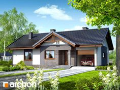 Dom w nerinach (Fot. Archon) www.pl/projekty-domow/arn-dom-w-nerinach-termo. Beautiful House Plans, Beautiful Small Homes, Bungalow Haus Design, Cottage Design, Mountain House Plans, Family House Plans, Style At Home, Minimal House Design, 100 M2