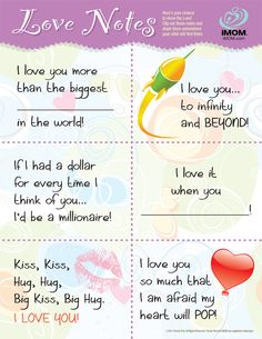 Show your child you love them with iMOM's Love Notes. #momlife #love #freeprintables