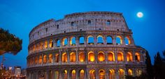 Coloseum ( Colosseo) at night . Rome