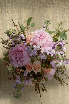 Peony wedding bouquet. stock.  peach roses.  wax flower.  pink and peach wedding