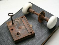 Antique Porcelain Door Knobs cast iron horizontal rim lock set with black porcelain door knobs