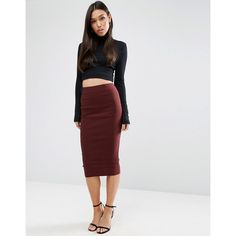 ASOS High Waist Longerline Pencil Skirt (1.940 RUB) ❤ liked on Polyvore featuring skirts, red, zipper pencil skirt, high waist skirt, high waisted bodycon skirt, pencil skirt and red bodycon skirt