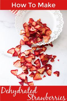 "Often called ""strawberry chips"", these dried strawberries are both healthy and delicious! Making dehydrated strawberries in a food dehydrator is a great way to preserve fruit and also makes for a perfect snack! #dehydratedstrawberries #driedsterawbwrries #dryfruits 