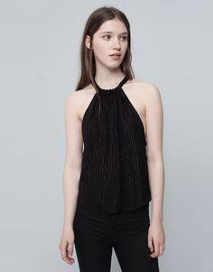 Pull&Bear - mujer - blusas y camisas - top cuello halter raya dorada - negro - 09471306-I2015