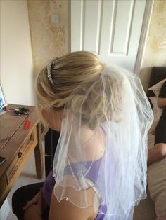 Wedding Updo with veil--with a hair comb instead of a headband/tiara