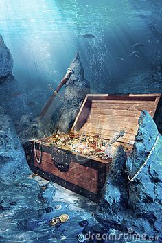 Images Treasure Chest In Water | Open Treasure Chest With Bright Gold Underwater Stock Photo - Image ...