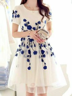 Cute white and blue flower dress