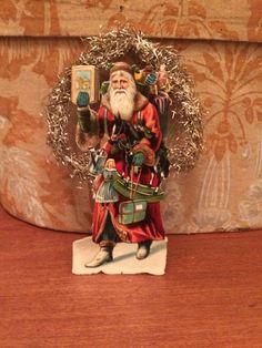 ~ANTIQUE german DIECUT santa SCRAP tinsel CHRISTMAS feather TREE ornament~