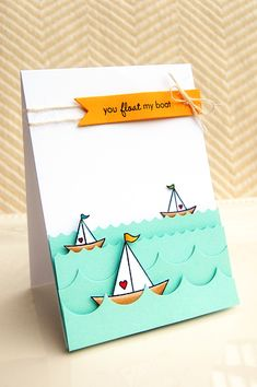 Jessica Witty used a cool technique on this card- stamping to switch the direction of one of the sailboats! - witticisms: December Release in Review!