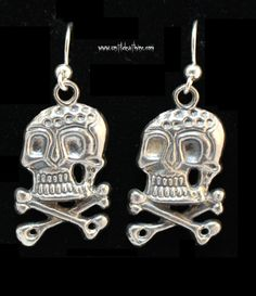German Style WWII Skull Dangle Earrings Solid 925 Sterling silver Hot Rodder Pin Up Tattoo Punk Rocker Biker Girl by UntilDeathInc.com