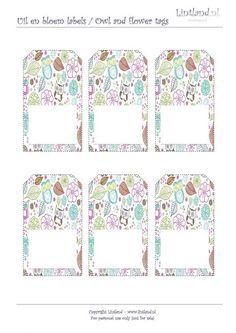 Voorbeelden/sjablonen - Uil en bloem labels / owl and flower tags - freebies / free printable www.lintland.nl Owl, Labels, Cakepops, Babyshower, Free Printables, Crafty, Tags, Flowers, Gifts