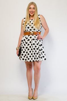 Polka Dot Love Belted Flared Dress