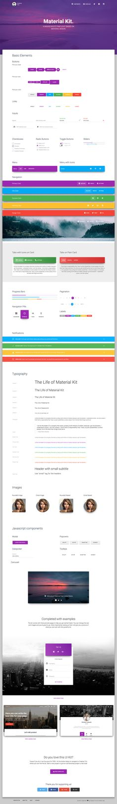 Material Kit is a Free Bootstrap UI Kit with a fresh, new design inspired by Google's material design.