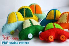 Items similar to Little felt car- PDF sewing pattern, felt car, Christmas ornament, softie on Etsy Sewing Hacks, Sewing Projects, Pdf Sewing Patterns, Step By Step Instructions, Softies, Hand Stitching, Making Out, Make Your Own, Dinosaur Stuffed Animal
