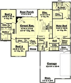Three Bedroom Split Layout - 11759HZ   Acadian, European, French Country, Traditional, Metric, Photo Gallery, 1st Floor Master Suite, Butler Walk-in Pantry, CAD Available, Den-Office-Library-Study, PDF, Split Bedrooms, Corner Lot   Architectural Designs