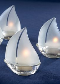 Frosted Glass Sailboat Tea Light Holders Set Of 4
