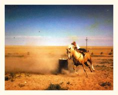 childhood photo of  legend Charmayne James doing barrels in Clayton, New Mexico