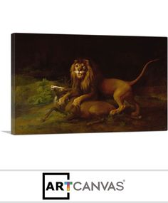 Ready-to-hang A Lion Attacking a Stag Canvas Art Print for Sale canvas art print for sale. Art Prints For Sale, Canvas Art Prints, Lion Sculpture, Statue, Painting, Painting Art, Paintings, Painted Canvas, Sculptures