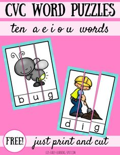 Practice blending sounds into words with these free CVC word puzzles!