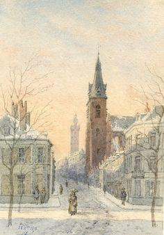 Vue de Mons sous la neige (1879),  L'HEUREUX Victor.