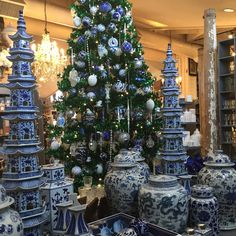 Coastal Bath Remodel and Other Fun Things in So. Cal. Blue Willow China, Blue And White China, Christmas Decorations, Holiday Decor, Christmas Mantles, Christmas Trees, Christmas Ornaments, Blue Christmas, Victorian Christmas
