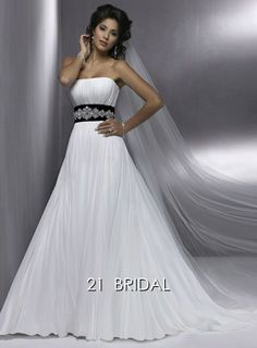 A-line Organza Satin Sleeveless Strapless Sashes/Court Train wedding dress Q3570 - 21bridal