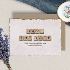 Save The Date Cards  Downloadable Card  Wedding Announcement image 0 Happy Birthday Printable, 30th Birthday Cards, Mom Birthday, Announcement Cards, Wedding Announcements, Printable Cards, Printables, Scrabble Wedding, Scrabble Tile Art