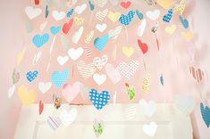 Heart Garland out of books, patterned paper, cardstock & fishing line. with free template Little Girl Rooms, My Little Girl, Heart Garland, Room To Grow, Diy Network, Hanging Hearts, General Crafts, Paper Hearts, Crafty Craft