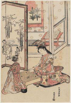 Ukiyo-e print by Kitao Shigemasa: Young Women Playing Go; Parody of the Four…