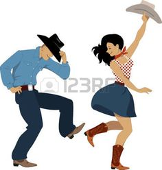 dance: Cowboy and cowgirl dancing country western dance, isolated on white, vector illustration, no transparencies, EPS 8