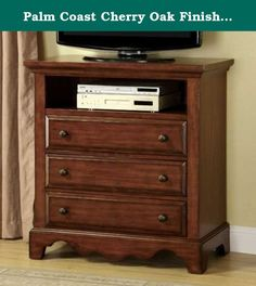 Palm Coast Cherry Oak Finish Media Chest. Details such as a classic distressed light walnut finish and antique gold finish knob accents is what gives this Palm Coast Cherry Oak Finish Media Chest its casual and sophisticated charm. A lovely upgrade for your bedroom decor, this piece is the ideal solution for storing and displaying your home entertainment.