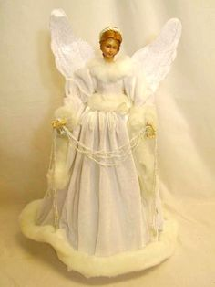 Regency Christmas decoration white velvet angel tree topper - After Christmas Santa Claus and holiday decoration sale Ghost Of Christmas Past, Christmas Tree Tops, Angel Christmas Tree Topper, After Christmas, Modern Christmas, Christmas Angels, Christmas Wreaths, Christmas Crafts, Christmas Decorations