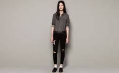 Pull&Bear - mujer - blusas y camisas - camisa tejana - gris - 09472323-I2014