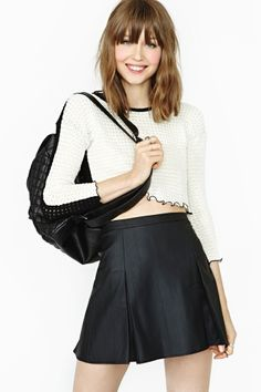 Nasty Gal Faux Real Varsity Skirt