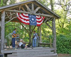 The stage at Bartlett Arboretum, Belle Plaine, Kansas Sunflower Tree, Outdoor Stage, Community Space, Home On The Range, Overland Park, July 4th, The Rock, Kansas, Gazebo