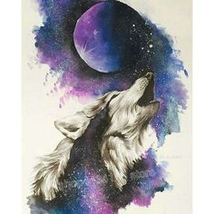 Animal Drawings Find More Diamond Painting Cross Stitch Information about Full Square Artwork Lobo, Wolf Artwork, Galaxy Painting, Galaxy Art, Cute Animal Drawings, Cute Drawings, Wolf Drawings, Wolf Painting, Diy Painting