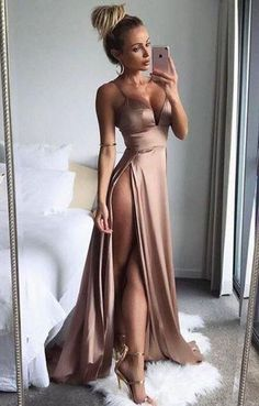 Elegant Prom Dresses, Sexy Spaghetti Straps High Split Side Long Prom Dresses Evening Dresses Party Gowns Formal Dresses Shop for La Femme prom dresses. Elegant long designer gowns, sexy cocktail dresses, short semi-formal dresses, and party dresses. V Neck Prom Dresses, Grad Dresses, Satin Dresses, Homecoming Dresses, Sexy Dresses, Cute Dresses, Beautiful Dresses, Formal Dresses, Dress Prom
