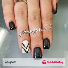 Jjf Nails by jessijanef via Nail Art Gallery #nailartgallery #nailart #nails #gel #naildesign #gelnails #black #matte #white