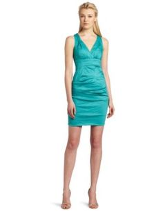 Nicole Miller Women's V-Neck Tuck Dress