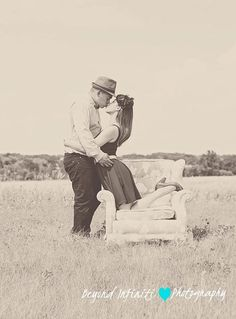 vintage engagement photo, rustic, barn, couch, love