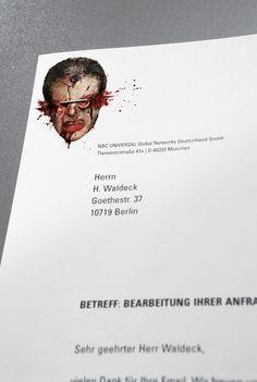 "Agency Jung von Matt AG created fantastic ""13th Street"" stationery for crime and horror chanel at NBC Universal, Germany.   Creative Directors: Jacques Pense, Michael Ohanian  Art Directors: Matthias Kracker, Stefan Rösinger"